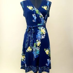 APT.9 Floral Blue V-neck Sleeveless Spring Dress